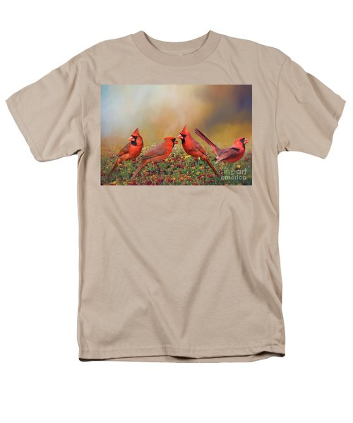 Men's T-Shirt  (Regular Fit) featuring the photograph Cardinal Quartet by Bonnie Barry