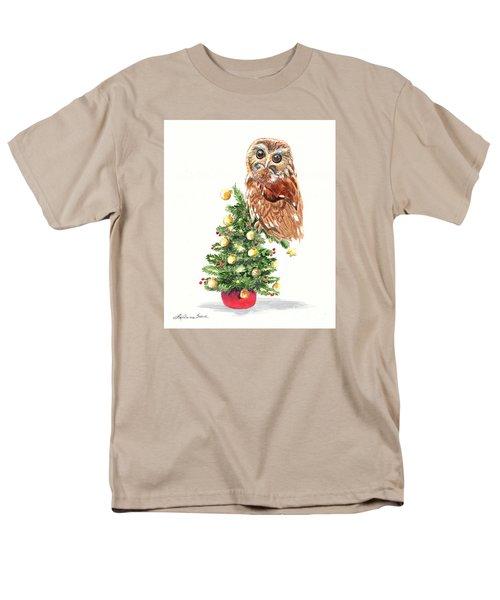 Christmas Owl Men's T-Shirt  (Regular Fit) by LeAnne Sowa