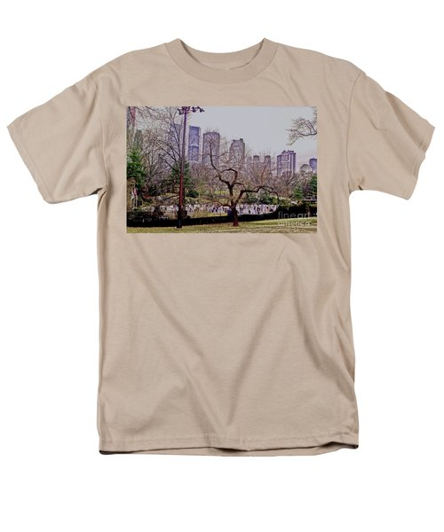 Men's T-Shirt  (Regular Fit) featuring the photograph Ice Skaters On Wollman Rink by Sandy Moulder