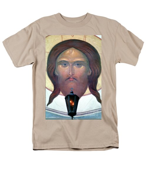 Jesus Icon At The Trinity Lavra Of St. Sergius Monastery In Sergiev Posad Men's T-Shirt  (Regular Fit) by Wernher Krutein