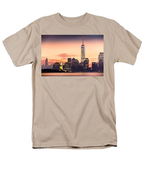 Lower Manhattan And The Statue Of Liberty At Sunrise Men's T-Shirt  (Regular Fit) by Mihai Andritoiu