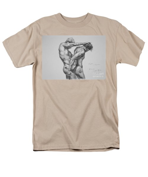 Original Drawing Sketch Charcoal Male Nude Gay Interest Man Art Pencil On Paper -0035 Men's T-Shirt  (Regular Fit) by Hongtao     Huang