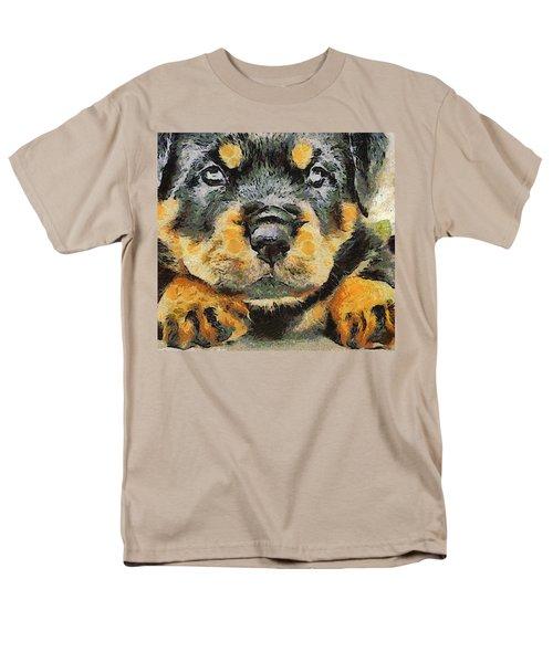 Rottweiler Puppy Portrait Men's T-Shirt  (Regular Fit) by Tracey Harrington-Simpson