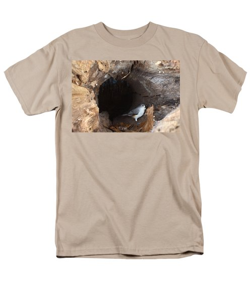 Tufted Titmouse In A Log Men's T-Shirt  (Regular Fit) by Ted Kinsman