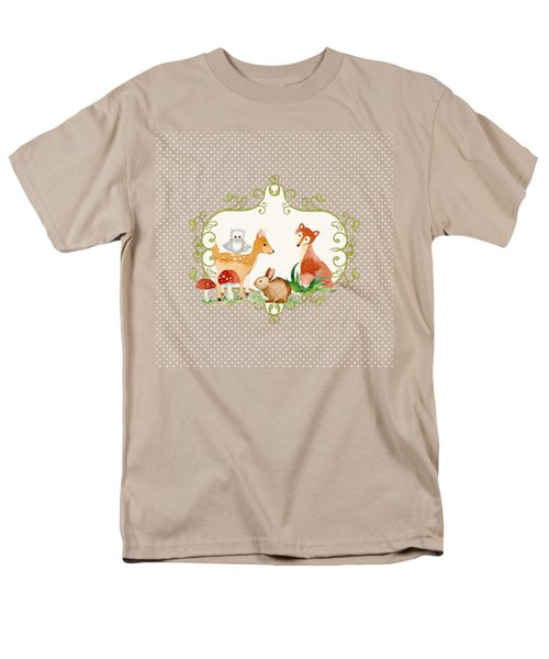 Men's T-Shirt  (Regular Fit) featuring the painting Woodland Fairytale - Animals Deer Owl Fox Bunny N Mushrooms by Audrey Jeanne Roberts