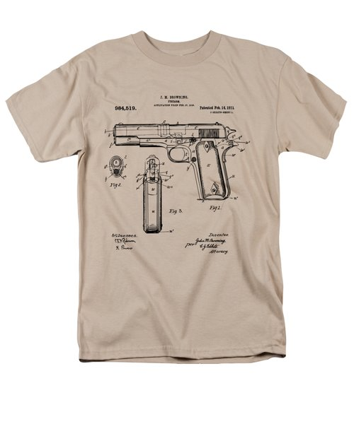 Men's T-Shirt  (Regular Fit) featuring the drawing 1911 Colt 45 Browning Firearm Patent Artwork Vintage by Nikki Marie Smith