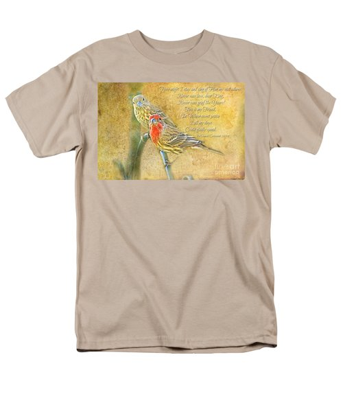 A Pair Of Housefinches With Verse Part 2 - Digital Paint Men's T-Shirt  (Regular Fit) by Debbie Portwood