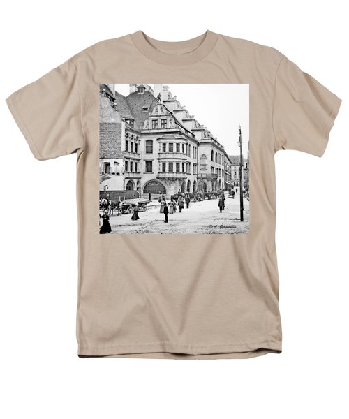 Men's T-Shirt  (Regular Fit) featuring the photograph Munich Germany Street Scene 1903 Vintage Photograph by A Gurmankin
