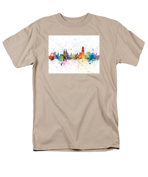 Barcelona Spain Skyline Men's T-Shirt  (Regular Fit) by Michael Tompsett