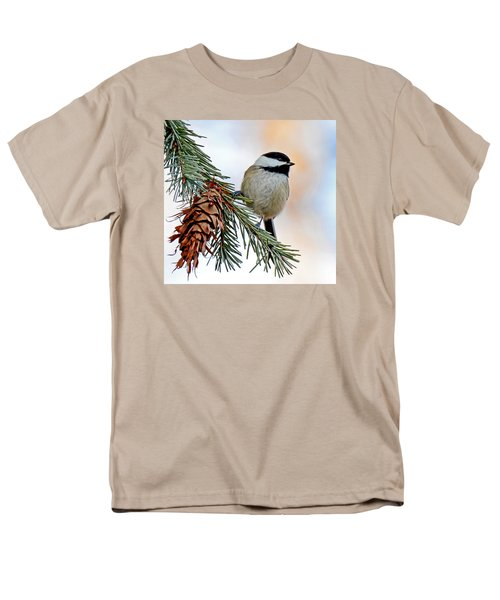 Men's T-Shirt  (Regular Fit) featuring the photograph A Christmas Chickadee by Rodney Campbell