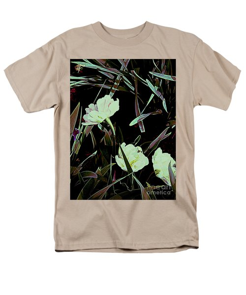 Men's T-Shirt  (Regular Fit) featuring the photograph A Noir Mystery Tulip Trio by Nancy Kane Chapman