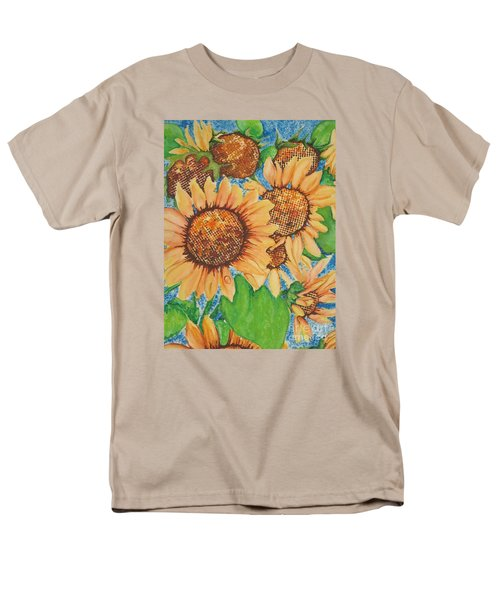 Men's T-Shirt  (Regular Fit) featuring the painting Abstract Sunflowers by Chrisann Ellis