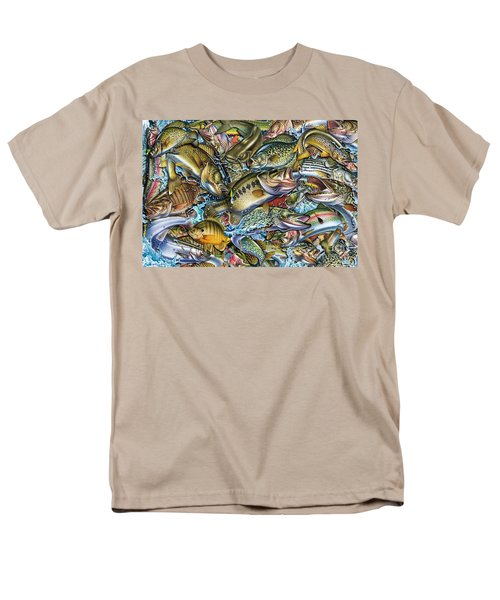 Men's T-Shirt  (Regular Fit) featuring the painting Action Fish Collage by Jon Q Wright JQ Licensing