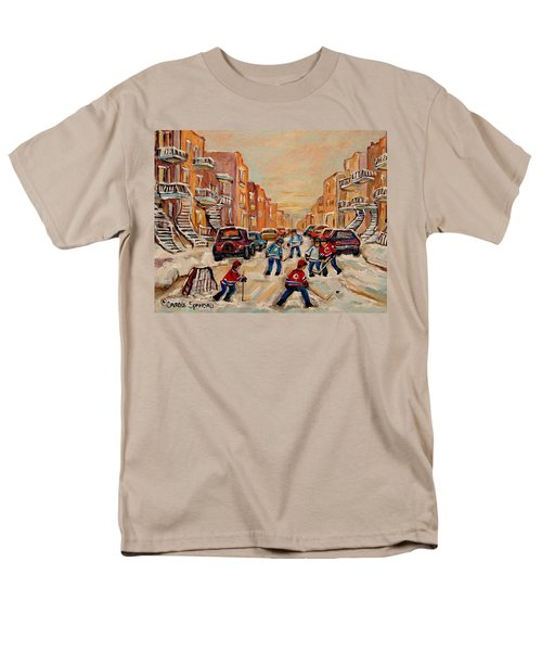 Men's T-Shirt  (Regular Fit) featuring the painting After School Hockey Game by Carole Spandau