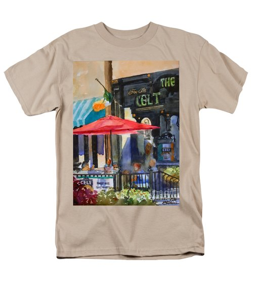 Men's T-Shirt  (Regular Fit) featuring the painting Al Fresco At The Celt by Ron Stephens