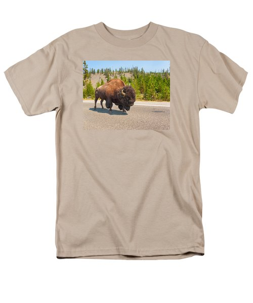 Men's T-Shirt  (Regular Fit) featuring the photograph American Bison Sharing The Road In Yellowstone by John M Bailey