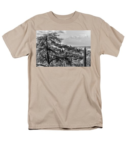 Men's T-Shirt  (Regular Fit) featuring the photograph Ancient Walls Of Florence-bandw by Sonny Marcyan