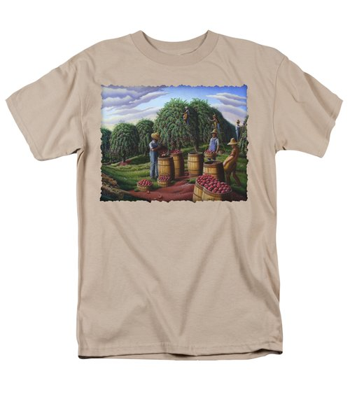 Apple Harvest - Autumn Farmers Orchard Farm Landscape - Folk Art Americana Men's T-Shirt  (Regular Fit) by Walt Curlee