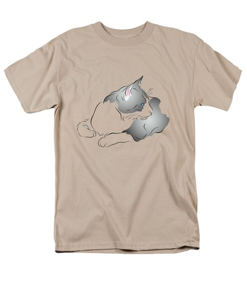 Grey And White Cat In Profile Graphic Men's T-Shirt  (Regular Fit) by MM Anderson