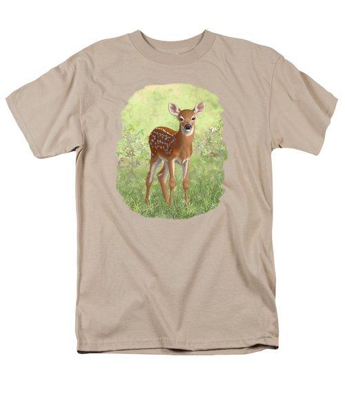 Cute Whitetail Deer Fawn Men's T-Shirt  (Regular Fit) by Crista Forest
