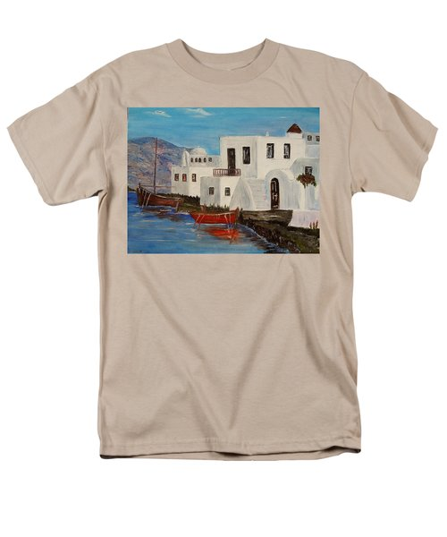 Men's T-Shirt  (Regular Fit) featuring the painting At Home In Greece by Marilyn  McNish