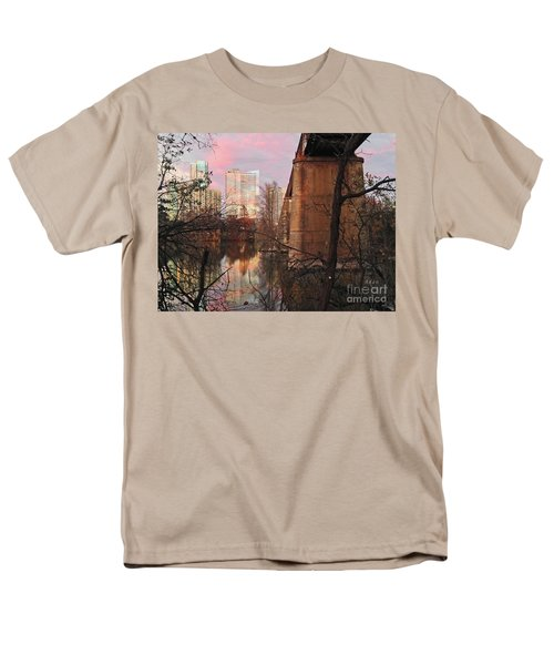Austin Hike And Bike Trail - Train Trestle 1 Sunset Triptych Middle Men's T-Shirt  (Regular Fit) by Felipe Adan Lerma