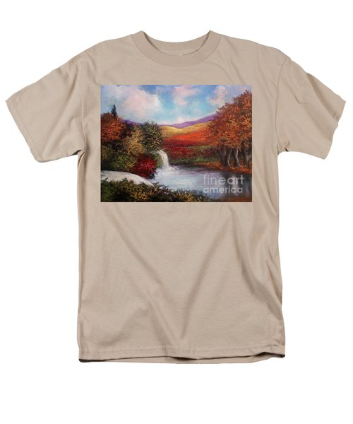Men's T-Shirt  (Regular Fit) featuring the painting Autumn In The Garden Of Eden by Randol Burns