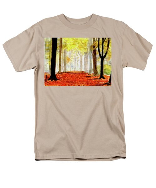 Men's T-Shirt  (Regular Fit) featuring the painting Autumn Trail by Yoshiko Mishina