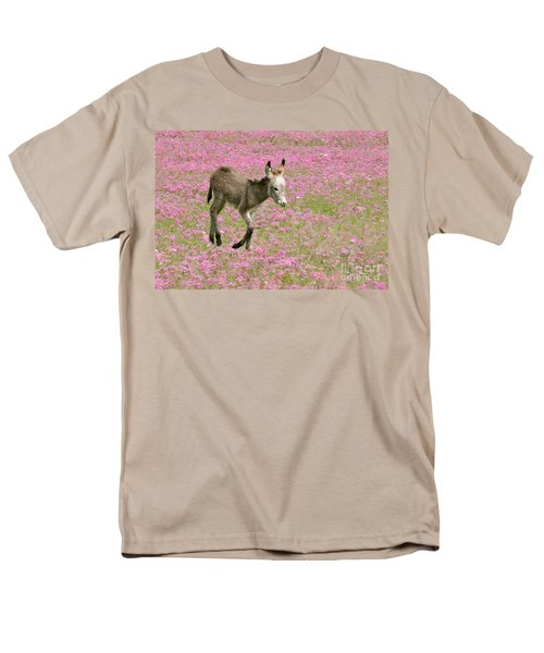 Men's T-Shirt  (Regular Fit) featuring the photograph Baby Donkey In The Flowers by Myrna Bradshaw