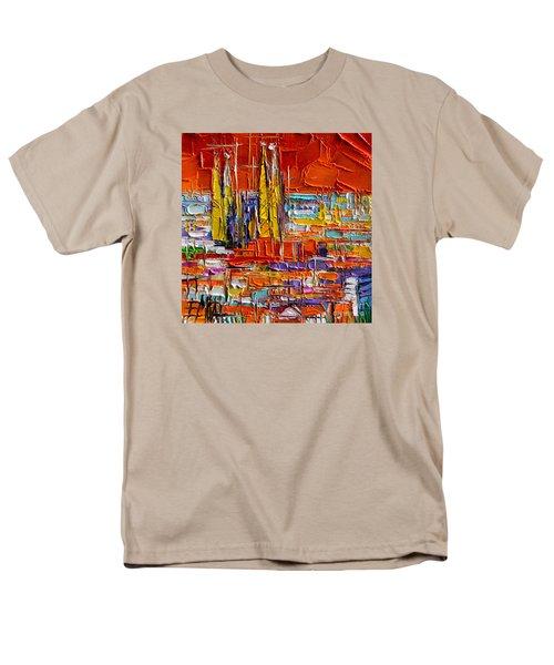 Barcelona View From Parc Guell - Abstract Miniature Men's T-Shirt  (Regular Fit)
