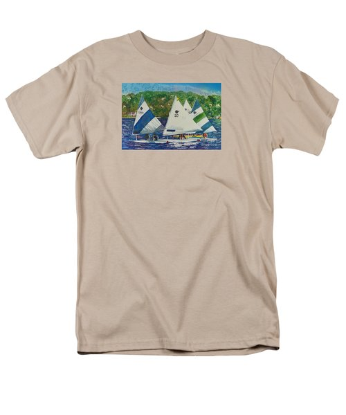 Men's T-Shirt  (Regular Fit) featuring the painting Bass Lake Races  by LeAnne Sowa