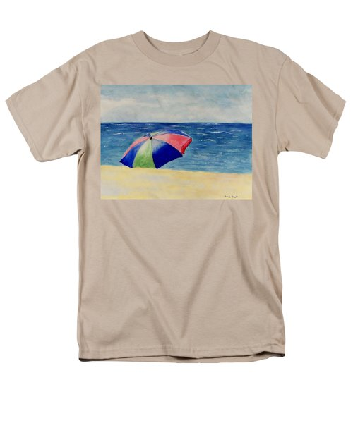 Men's T-Shirt  (Regular Fit) featuring the painting Beach Umbrella by Jamie Frier