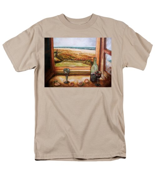 Men's T-Shirt  (Regular Fit) featuring the painting Beach Window by Winsome Gunning