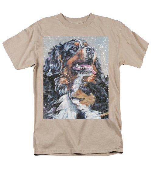 Bernese Mountain Dog With Pup Men's T-Shirt  (Regular Fit) by Lee Ann Shepard