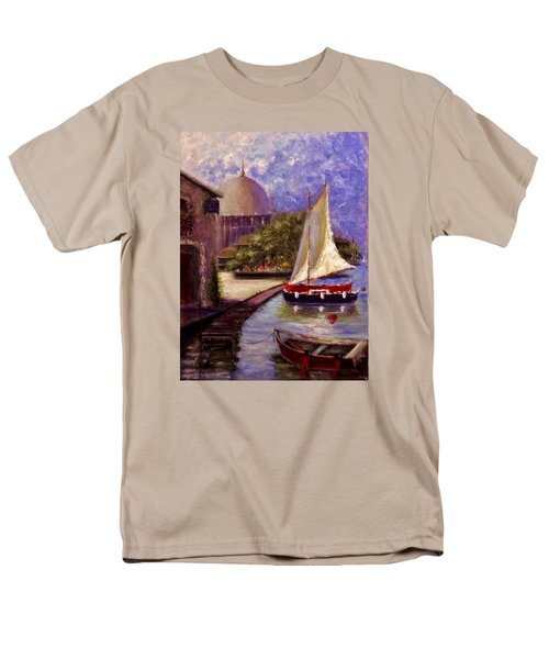 Men's T-Shirt  (Regular Fit) featuring the painting Bienvenue A Yvoire.. by Cristina Mihailescu