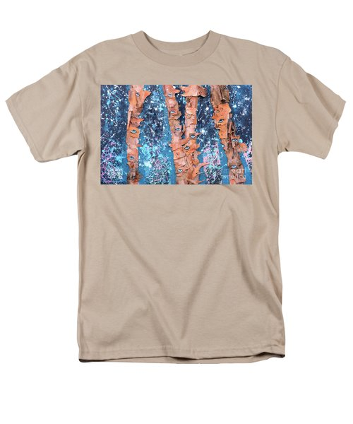 Men's T-Shirt  (Regular Fit) featuring the mixed media Birch Trees With Eyes by Genevieve Esson