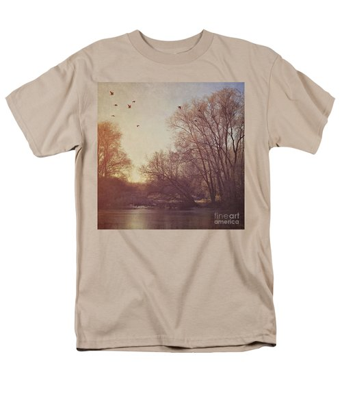 Men's T-Shirt  (Regular Fit) featuring the photograph Birds Take Flight Over Lake On A Winters Morning by Lyn Randle