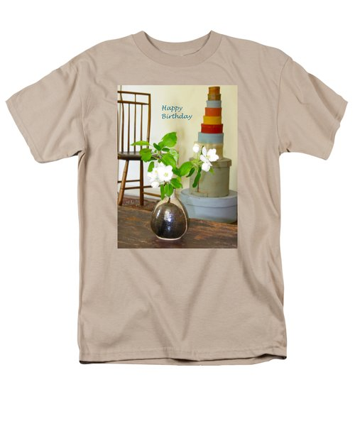 Birthday Apple Blossoms Men's T-Shirt  (Regular Fit) by Deborah Dendler
