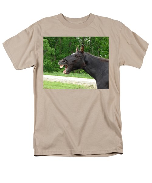 Men's T-Shirt  (Regular Fit) featuring the digital art Black Horse Laughs by Jana Russon