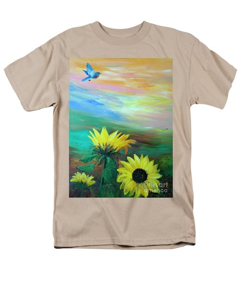 Bluebird Flying Over Sunflowers Men's T-Shirt  (Regular Fit) by Robin Maria Pedrero
