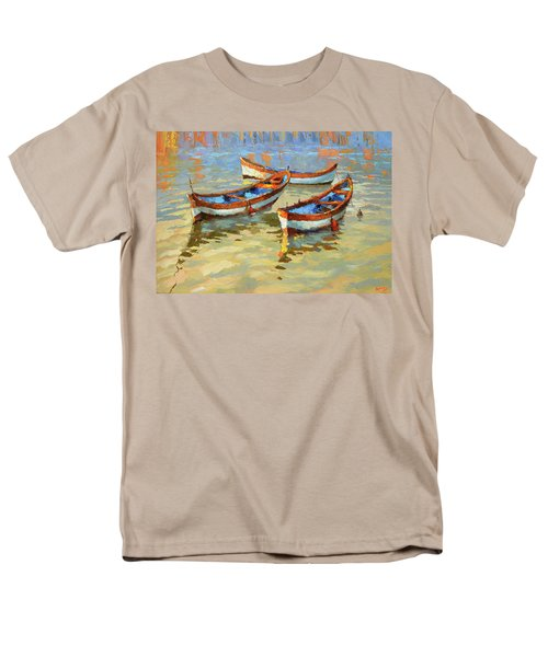 Men's T-Shirt  (Regular Fit) featuring the painting Boats In The Sunset by Dmitry Spiros