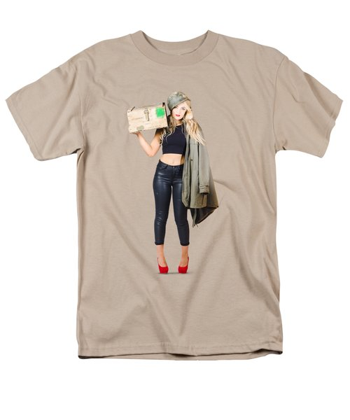 Bombshell Blond Pinup Woman In Dangerous Style Men's T-Shirt  (Regular Fit) by Jorgo Photography - Wall Art Gallery