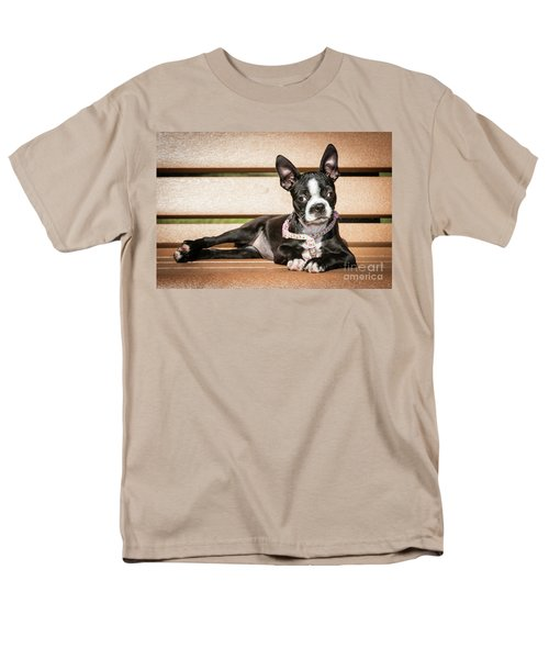 Boston Terrier Puppy Relaxing Men's T-Shirt  (Regular Fit) by Stephanie Hayes