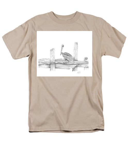 Men's T-Shirt  (Regular Fit) featuring the drawing Brown Pelican by Patricia Hiltz
