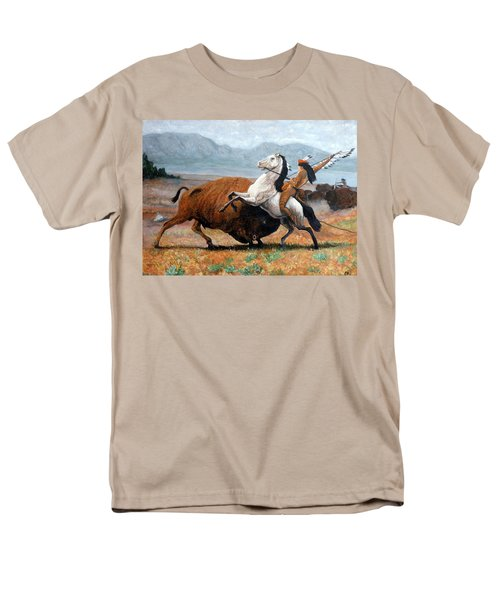 Men's T-Shirt  (Regular Fit) featuring the painting Buffalo Hunt by Tom Roderick