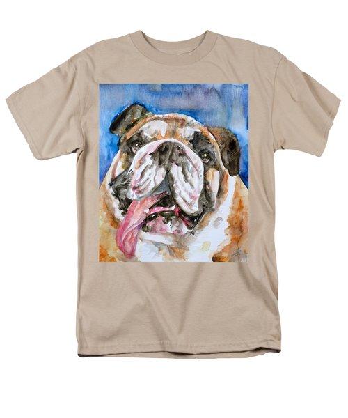 Men's T-Shirt  (Regular Fit) featuring the painting Bulldog - Watercolor Portrait.3 by Fabrizio Cassetta