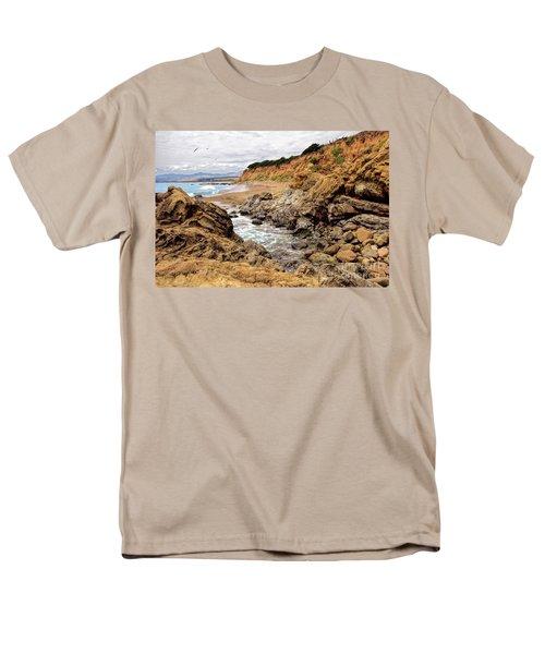 California Coast Rocks Cliffs And Beach Men's T-Shirt  (Regular Fit) by Dan Carmichael