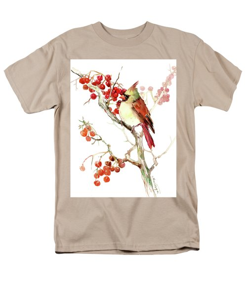 Cardinal Bird And Berries Men's T-Shirt  (Regular Fit) by Suren Nersisyan