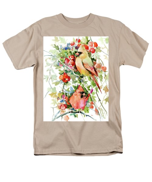 Cardinal Birds And Hawthorn Men's T-Shirt  (Regular Fit) by Suren Nersisyan