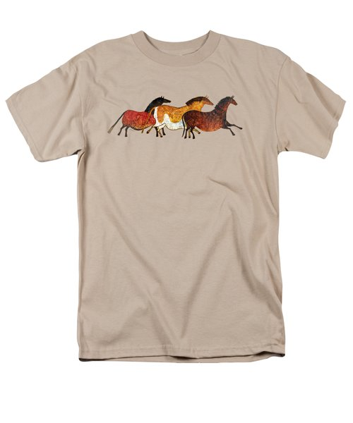 Men's T-Shirt  (Regular Fit) featuring the painting Cave Horses In Beige by Hailey E Herrera
